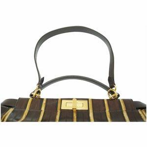 Fendi Bags - FENDI Peekaboo Striped Eel Skin Shoulder Bag